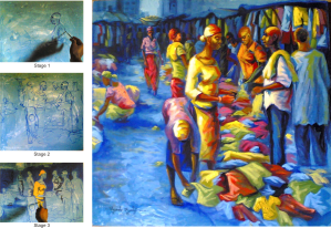 bend down boutique painting stages by Ayeola Ayodeji Awizzy