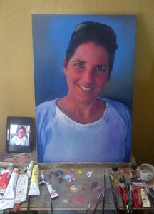 cool portrait drawing painting of gij kind's wife